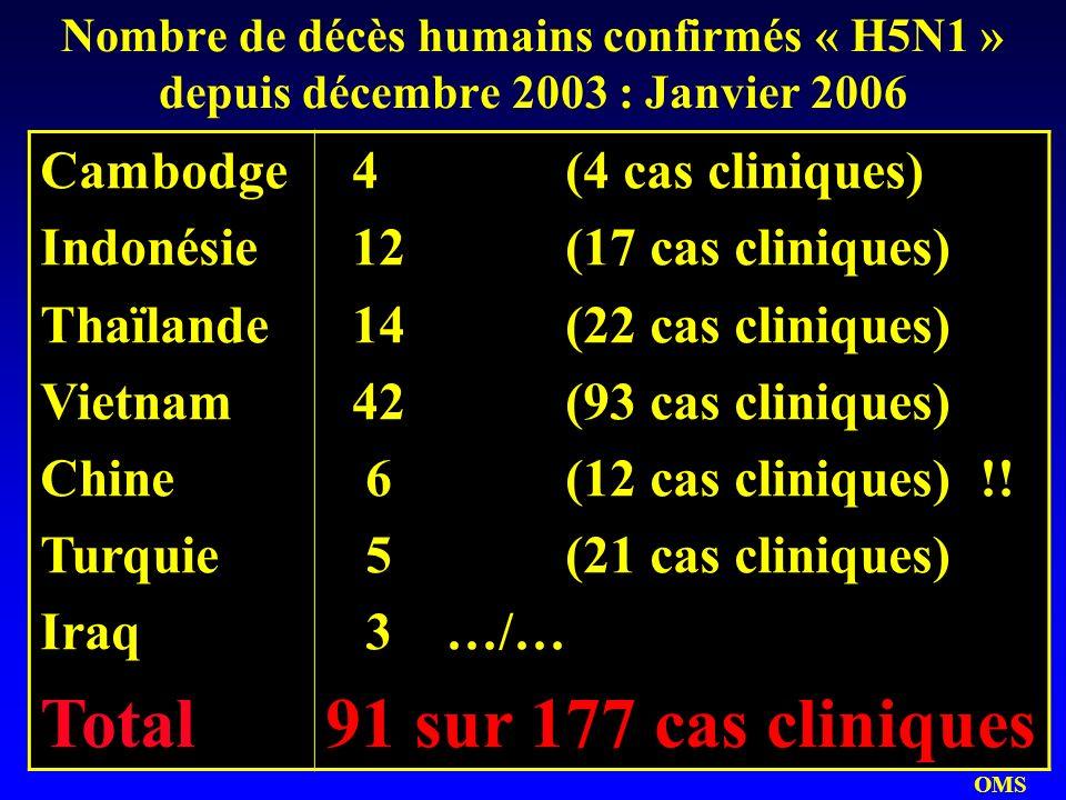 Nombre de décès humains confirmés « H5N1 » depuis décembre 2003 : Janvier 2006 Cambodge Indonésie Thaïlande Vietnam Chine Turquie Iraq Total 4 (4 cas