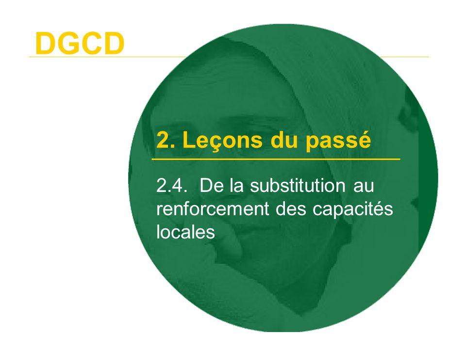 DGCD Une base solide pour un nouveau partenariat 2. Leçons du passé et nouvel élan