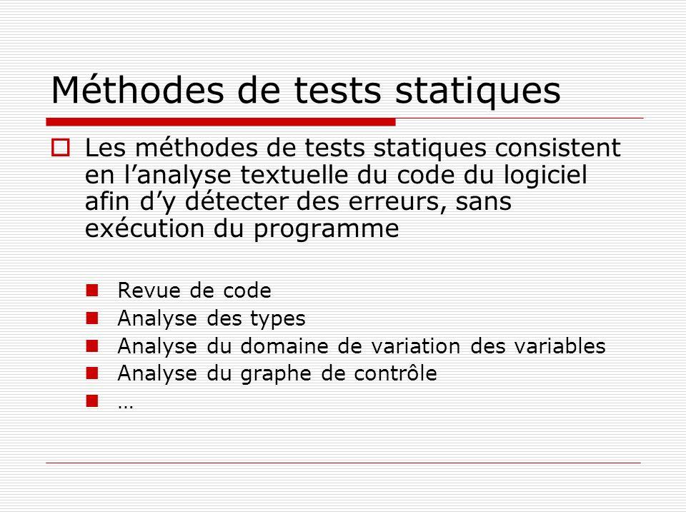 Méthodes de tests statiques Les méthodes de tests statiques consistent en lanalyse textuelle du code du logiciel afin dy détecter des erreurs, sans ex