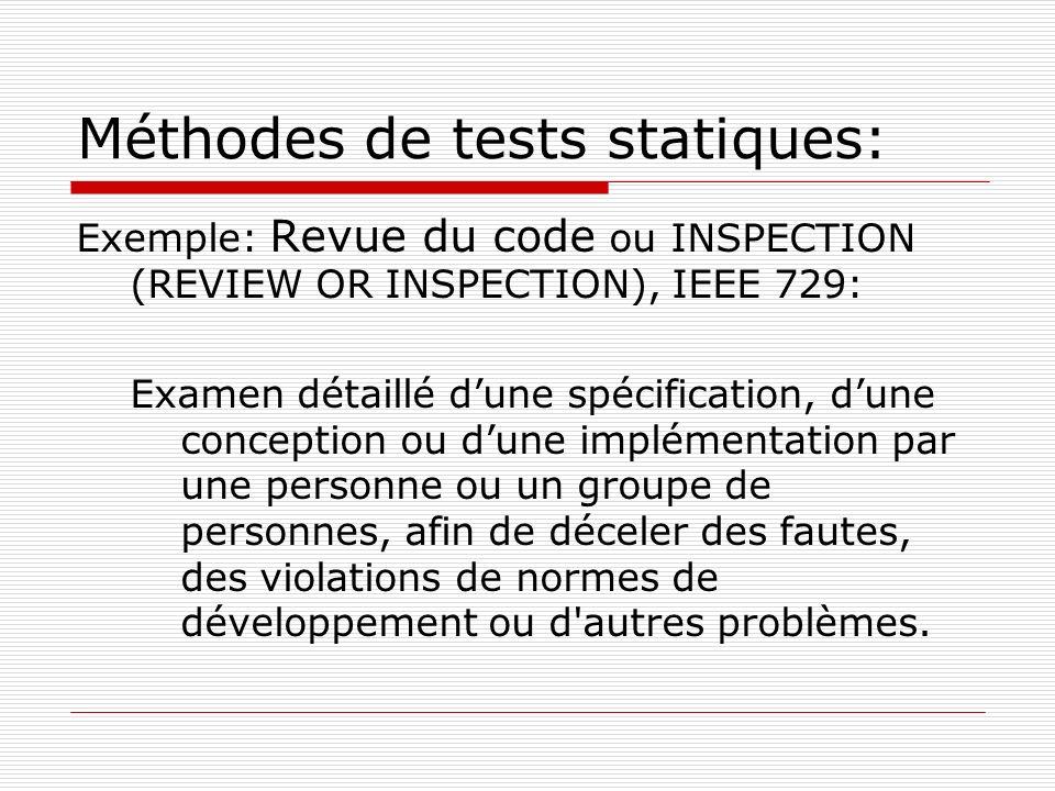 Méthodes de tests statiques: Exemple: Revue du code ou INSPECTION (REVIEW OR INSPECTION), IEEE 729: Examen détaillé dune spécification, dune conceptio