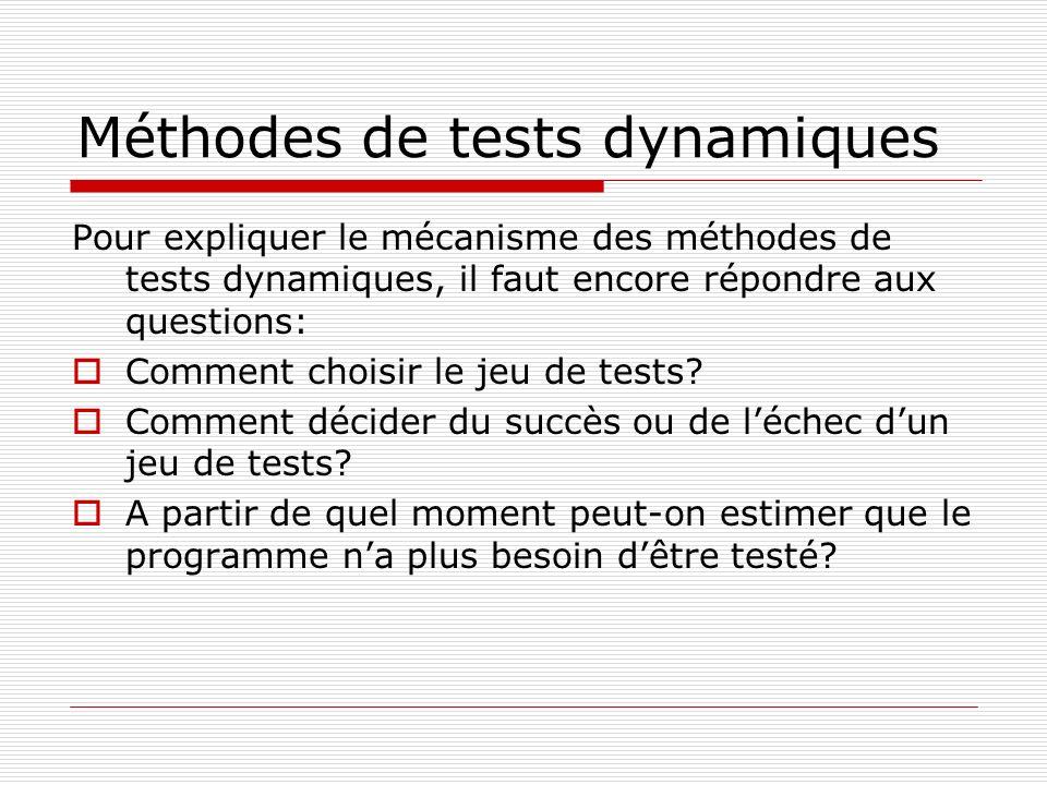 Méthodes de tests dynamiques Pour expliquer le mécanisme des méthodes de tests dynamiques, il faut encore répondre aux questions: Comment choisir le j