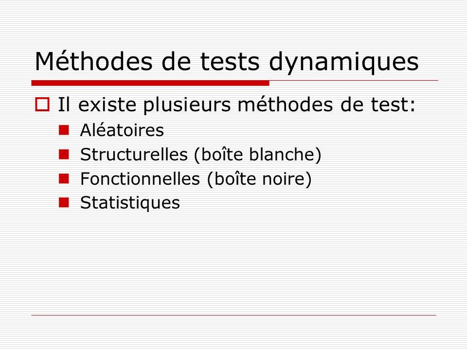 Méthodes de tests dynamiques Il existe plusieurs méthodes de test: Aléatoires Structurelles (boîte blanche) Fonctionnelles (boîte noire) Statistiques