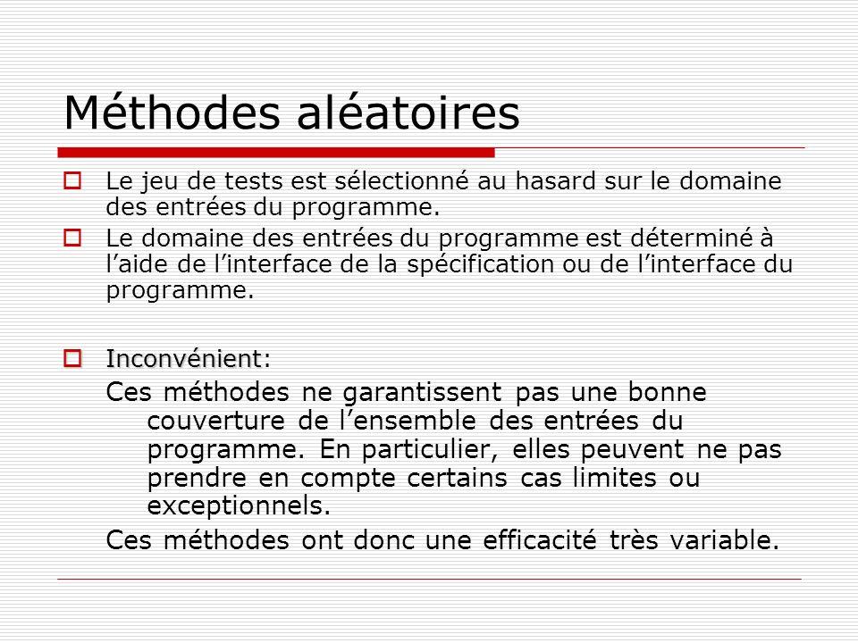 Méthodes aléatoires Le jeu de tests est sélectionné au hasard sur le domaine des entrées du programme. Le domaine des entrées du programme est détermi