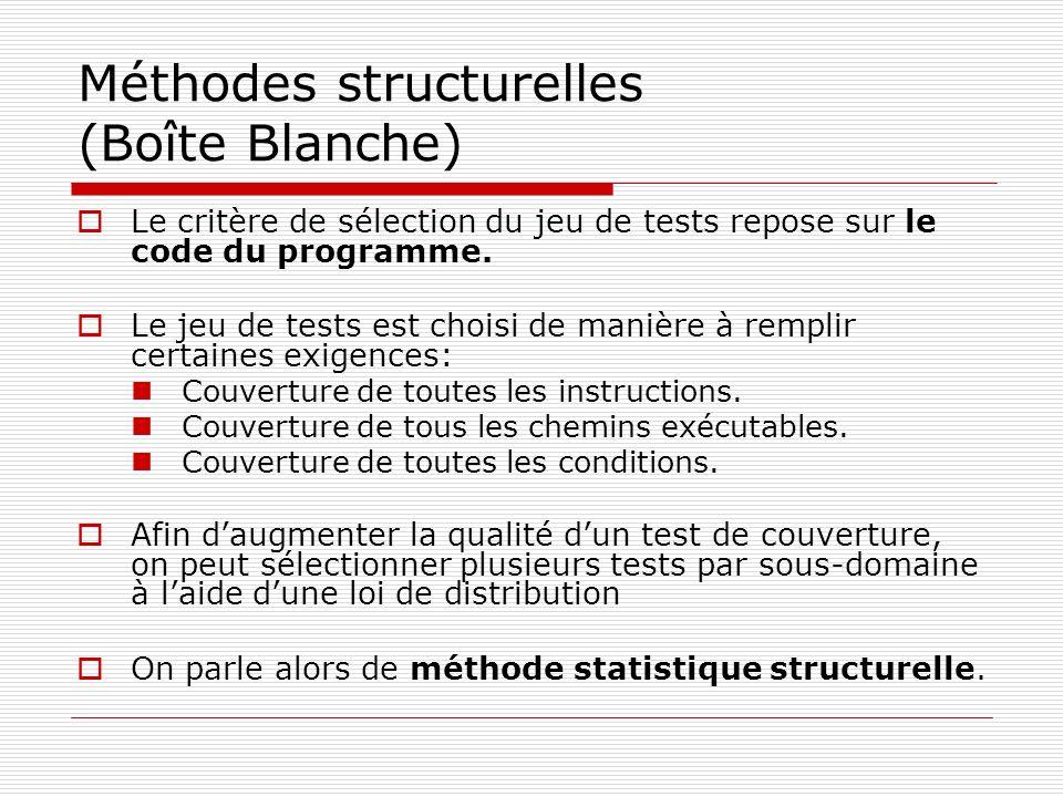 Méthodes structurelles (Boîte Blanche) Le critère de sélection du jeu de tests repose sur le code du programme. Le jeu de tests est choisi de manière