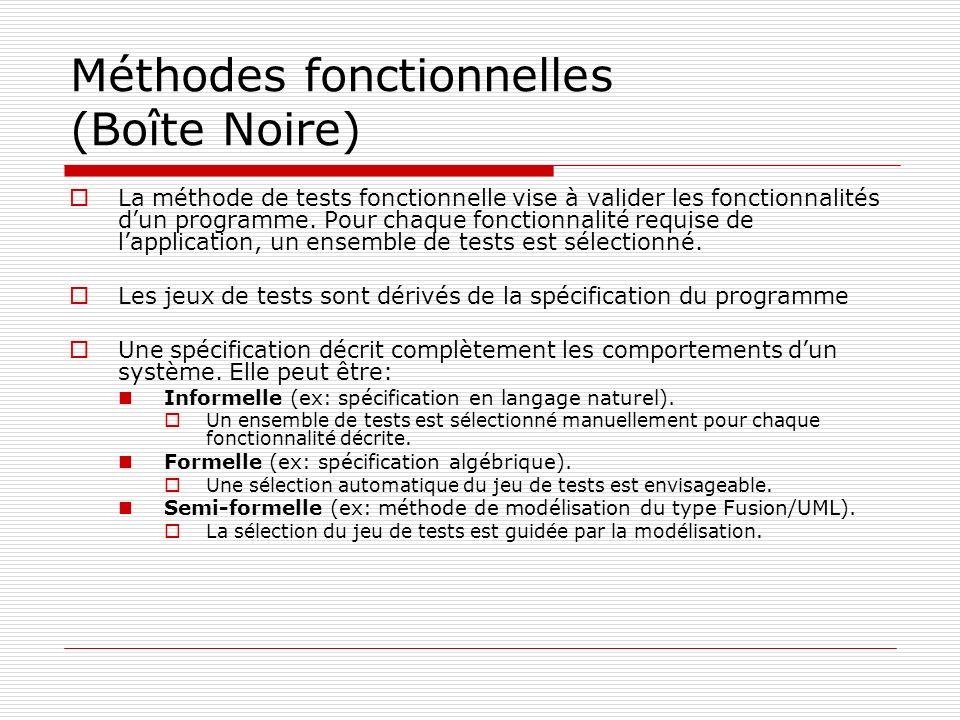 Méthodes fonctionnelles (Boîte Noire) La méthode de tests fonctionnelle vise à valider les fonctionnalités dun programme. Pour chaque fonctionnalité r