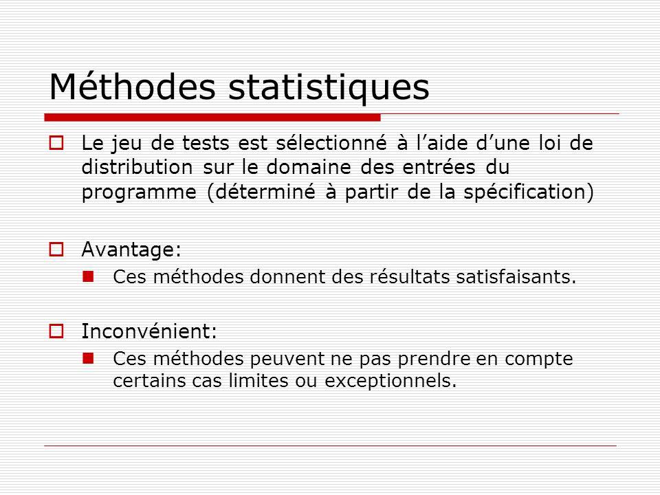 Méthodes statistiques Le jeu de tests est sélectionné à laide dune loi de distribution sur le domaine des entrées du programme (déterminé à partir de