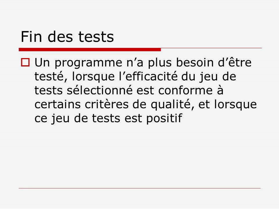 Fin des tests Un programme na plus besoin dêtre testé, lorsque lefficacité du jeu de tests sélectionné est conforme à certains critères de qualité, et