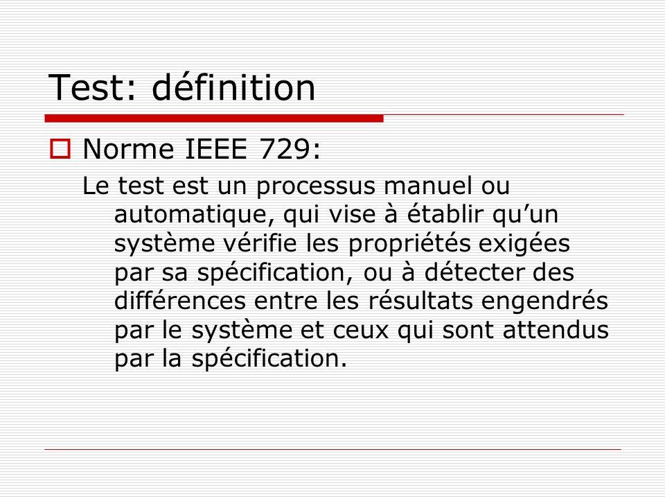 Test: définition Norme IEEE 729: Le test est un processus manuel ou automatique, qui vise à établir quun système vérifie les propriétés exigées par sa