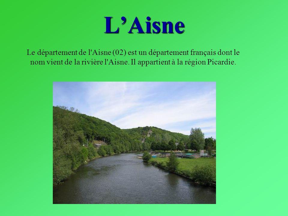 LAisne Le département de l'Aisne (02) est un département français dont le nom vient de la rivière l'Aisne. Il appartient à la région Picardie.