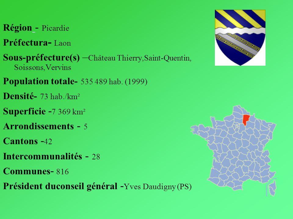 Région - Picardie Préfectura - Laon Sous-préfecture(s) – Château Thierry,Saint-Quentin, Soissons,Vervins Population totale- 535 489 hab. (1999) Densit