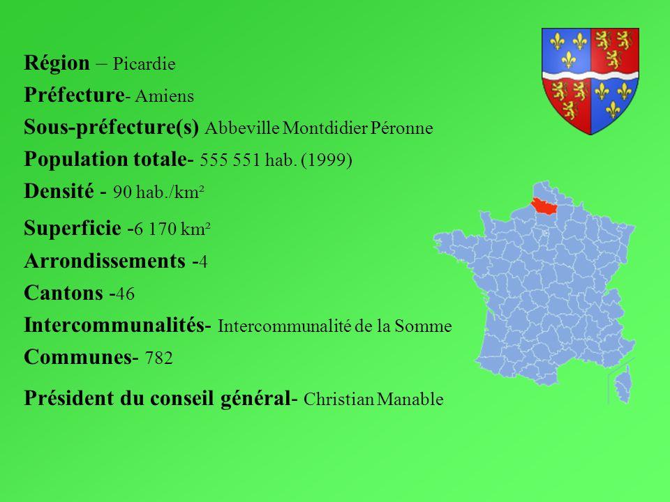 Région – Picardie Préfecture - Amiens Sous-préfecture(s) Abbeville Montdidier Péronne Population totale- 555 551 hab. (1999) Densité - 90 hab./km² Sup