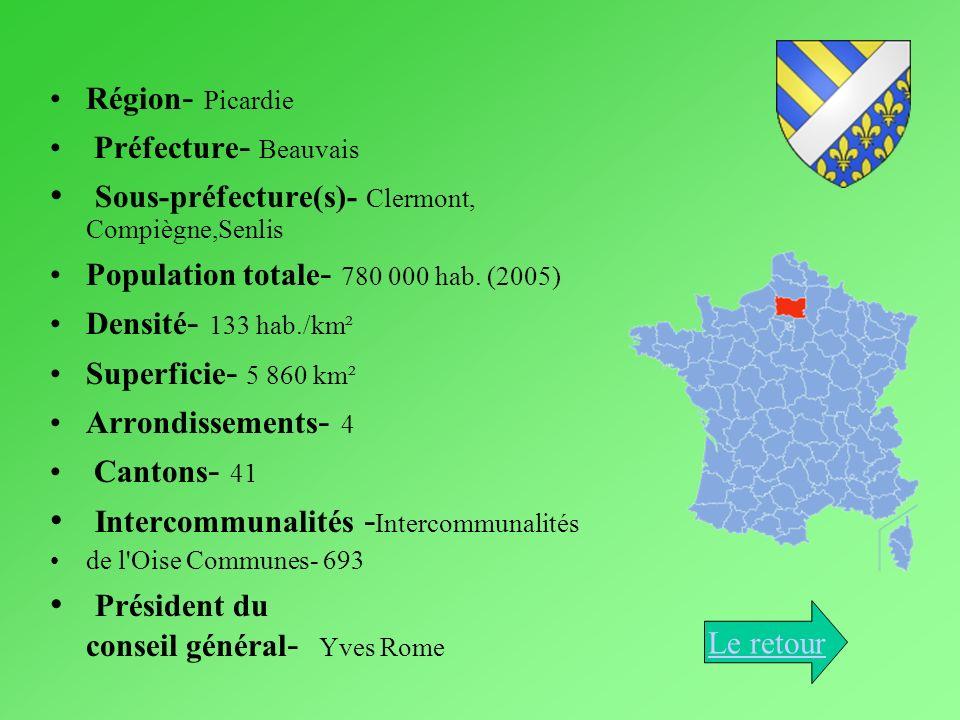 Région - Picardie Préfecture - Beauvais Sous-préfecture(s)- Clermont, Compiègne,Senlis Population totale - 780 000 hab. (2005) Densité - 133 hab./km²