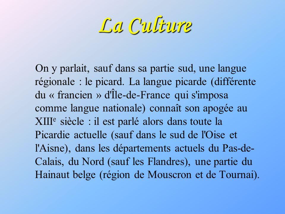 La Culture On y parlait, sauf dans sa partie sud, une langue régionale : le picard. La langue picarde (différente du « francien » d'Île-de-France qui