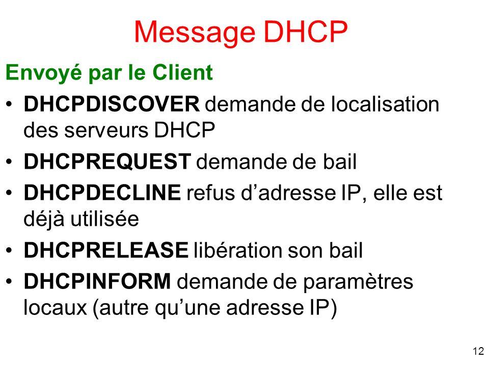 12 Message DHCP Envoyé par le Client DHCPDISCOVER demande de localisation des serveurs DHCP DHCPREQUEST demande de bail DHCPDECLINE refus dadresse IP,