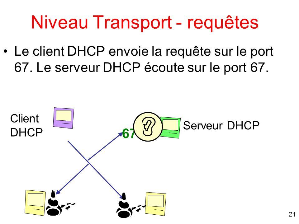 21 Le client DHCP envoie la requête sur le port 67. Le serveur DHCP écoute sur le port 67. Niveau Transport - requêtes Serveur DHCP 67 Client DHCP
