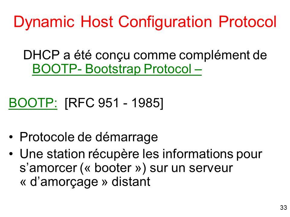 33 Dynamic Host Configuration Protocol DHCP a été conçu comme complément de BOOTP- Bootstrap Protocol – BOOTP: [RFC 951 - 1985] Protocole de démarrage