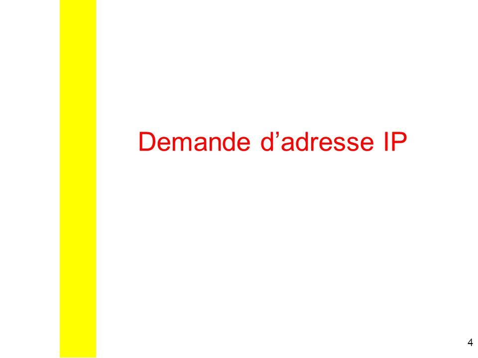 5 Demande de bail/adresse IP Le poste client vient de se connecter, il na pas dadresse IP En DHCP une adresse IP nest fournit que pour un temps donné : Le bail.