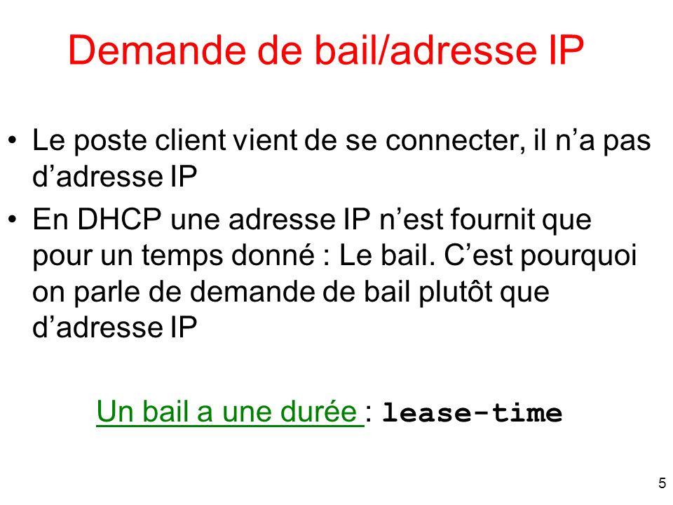 5 Demande de bail/adresse IP Le poste client vient de se connecter, il na pas dadresse IP En DHCP une adresse IP nest fournit que pour un temps donné