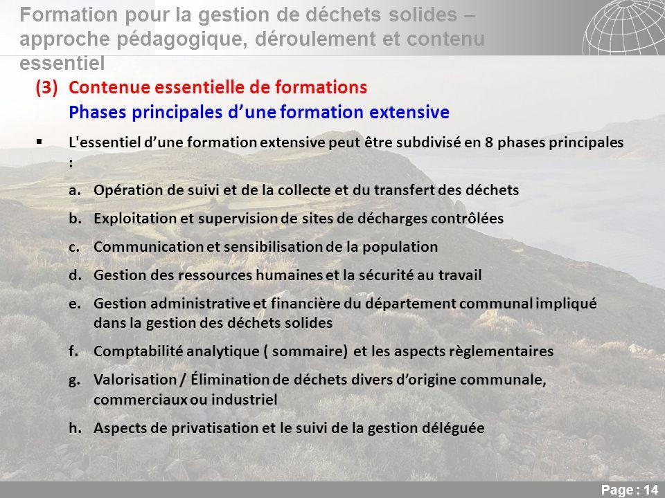 02.11.2013 Seite 14 Seite 14 Formation pour la gestion de déchets solides – approche pédagogique, déroulement et contenu essentiel Page : 14 (3)Conten