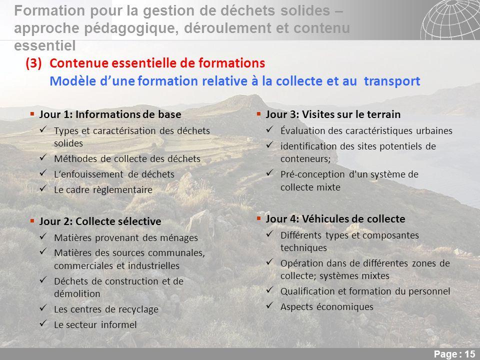 02.11.2013 Seite 15 Seite 15 Formation pour la gestion de déchets solides – approche pédagogique, déroulement et contenu essentiel Page : 15 (3)Conten