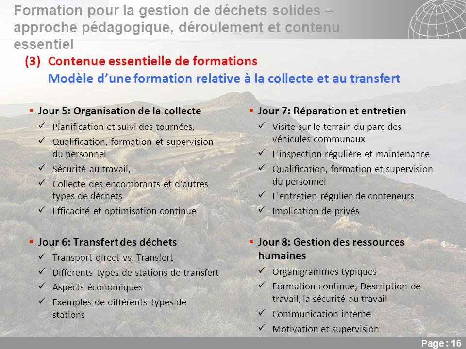 02.11.2013 Seite 16 Seite 16 Formation pour la gestion de déchets solides – approche pédagogique, déroulement et contenu essentiel Page : 16 (3)Conten