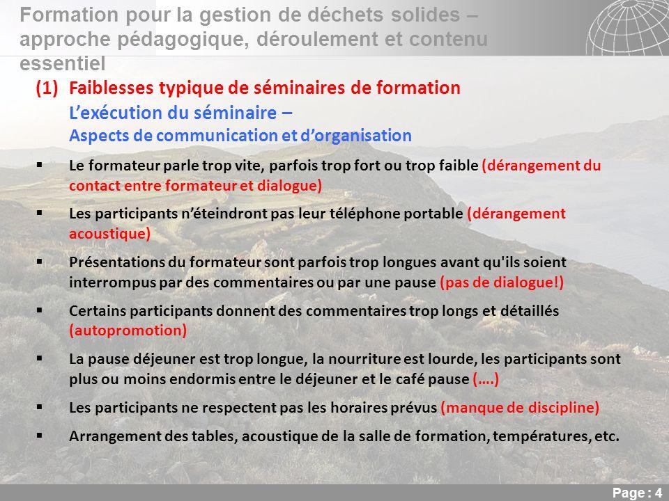 02.11.2013 Seite 4 Seite 4 Formation pour la gestion de déchets solides – approche pédagogique, déroulement et contenu essentiel Page : 4 (1)Faiblesse