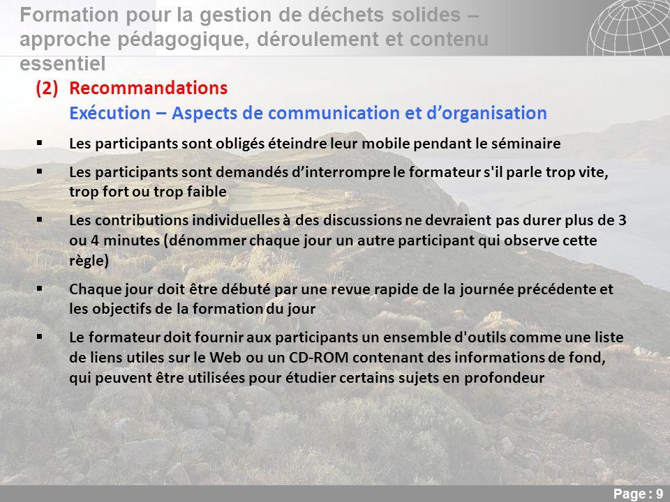 02.11.2013 Seite 9 Seite 9 Formation pour la gestion de déchets solides – approche pédagogique, déroulement et contenu essentiel Page : 9 (2)Recommand