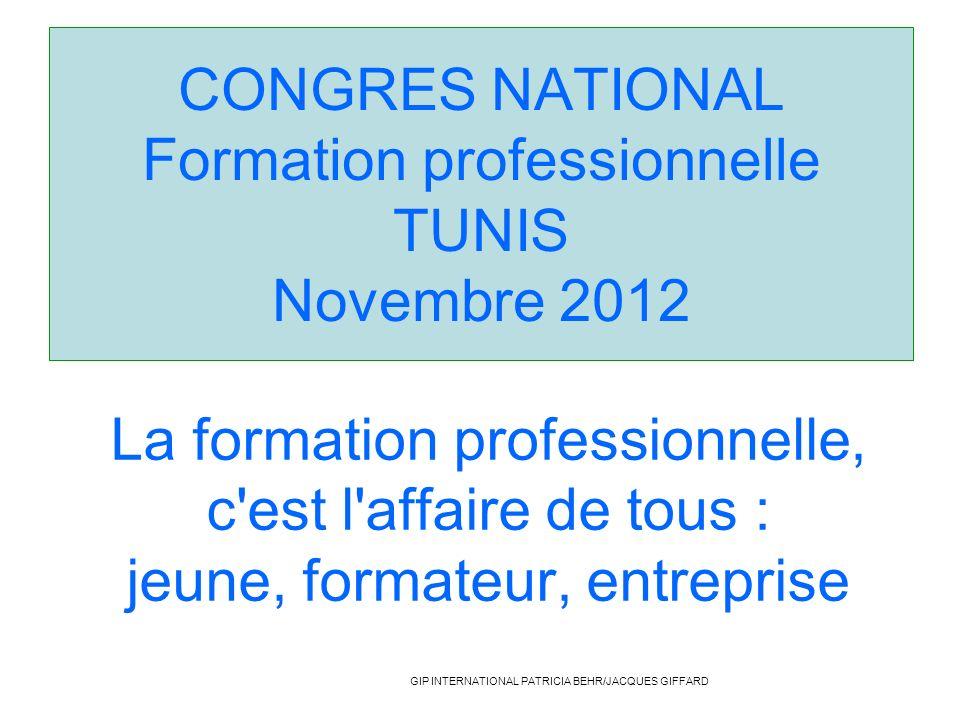 CONGRES NATIONAL Formation professionnelle TUNIS Novembre 2012 La formation professionnelle, c'est l'affaire de tous : jeune, formateur, entreprise GI