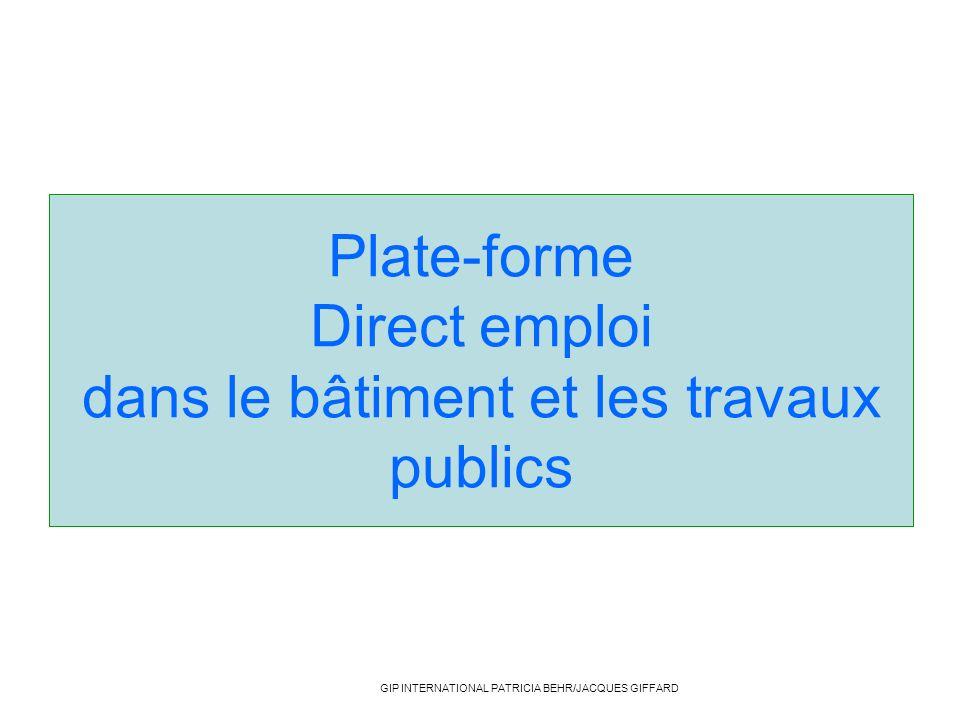 Plate-forme Direct emploi dans le bâtiment et les travaux publics GIP INTERNATIONAL PATRICIA BEHR/JACQUES GIFFARD