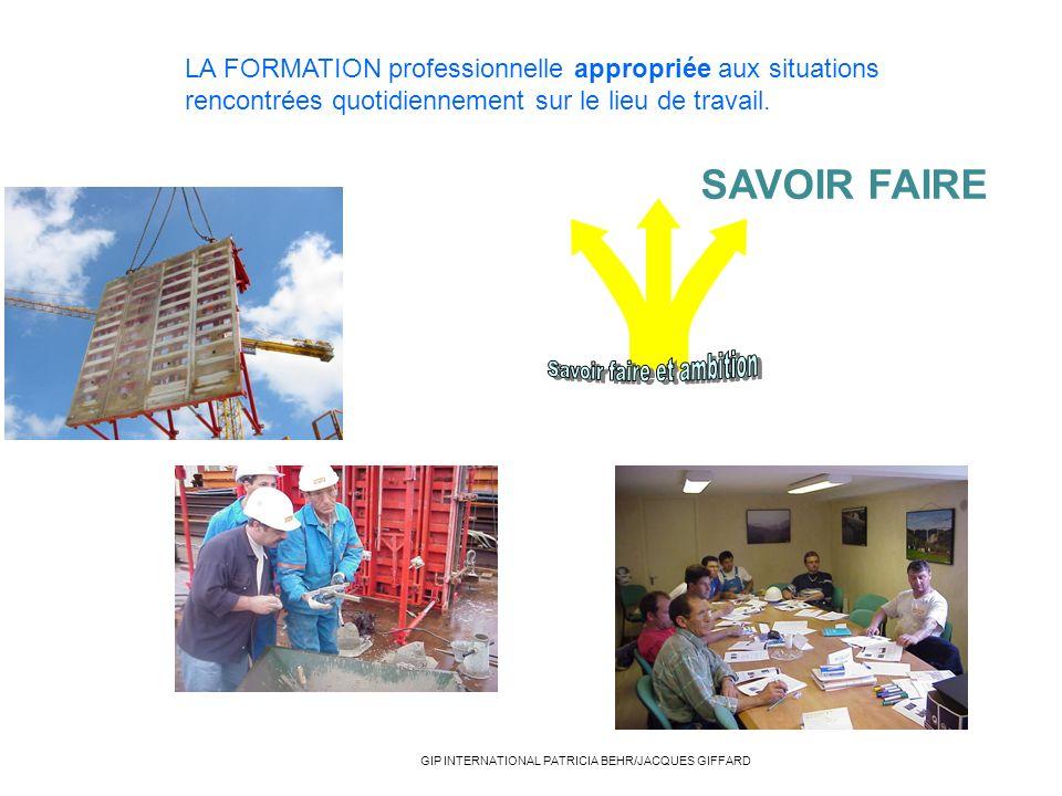 LA FORMATION professionnelle appropriée aux situations rencontrées quotidiennement sur le lieu de travail. SAVOIR FAIRE GIP INTERNATIONAL PATRICIA BEH