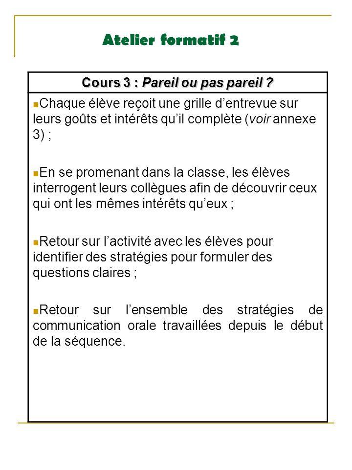 Atelier formatif 2 Cours 3 : Pareil ou pas pareil ? Chaque élève reçoit une grille dentrevue sur leurs goûts et intérêts quil complète (voir annexe 3)