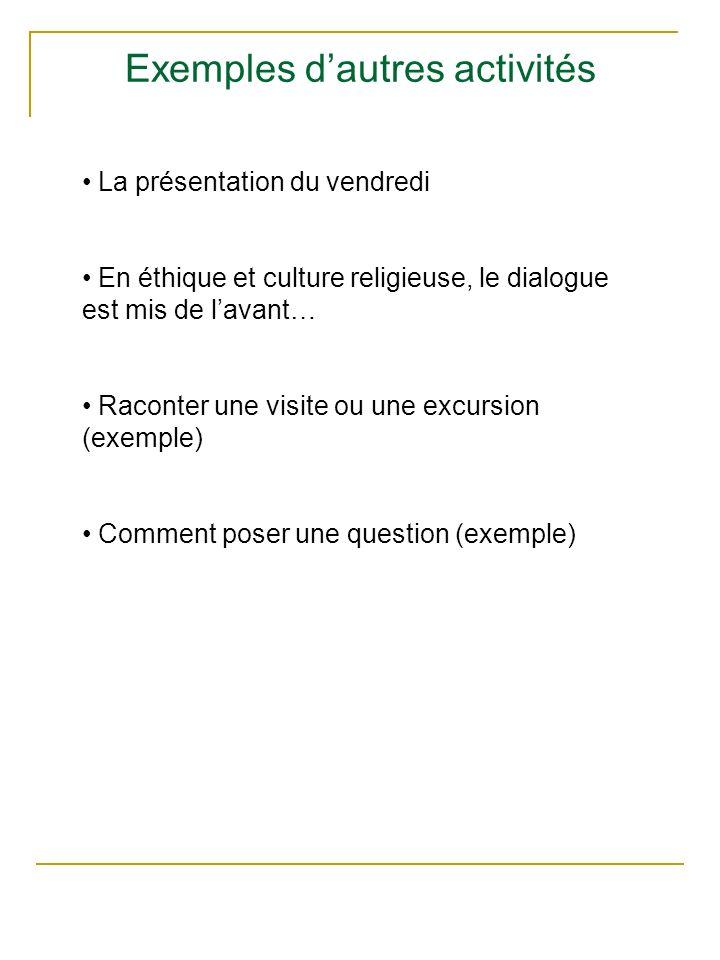 Exemples dautres activités La présentation du vendredi En éthique et culture religieuse, le dialogue est mis de lavant… Raconter une visite ou une exc