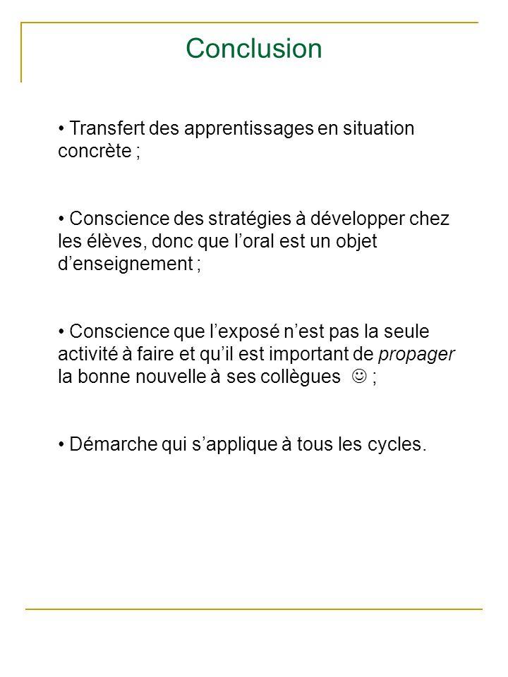 Conclusion Transfert des apprentissages en situation concrète ; Conscience des stratégies à développer chez les élèves, donc que loral est un objet de