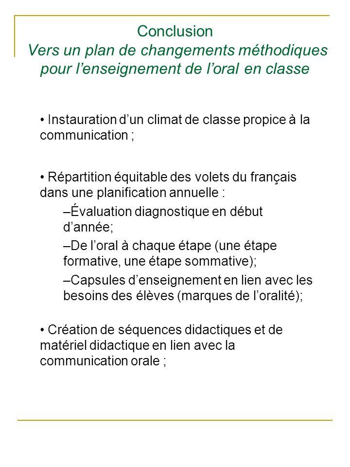 Conclusion Vers un plan de changements méthodiques pour lenseignement de loral en classe Instauration dun climat de classe propice à la communication