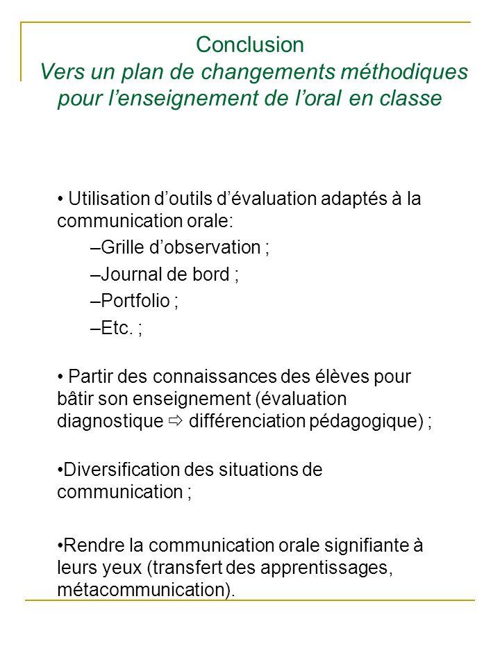 Conclusion Vers un plan de changements méthodiques pour lenseignement de loral en classe Utilisation doutils dévaluation adaptés à la communication or