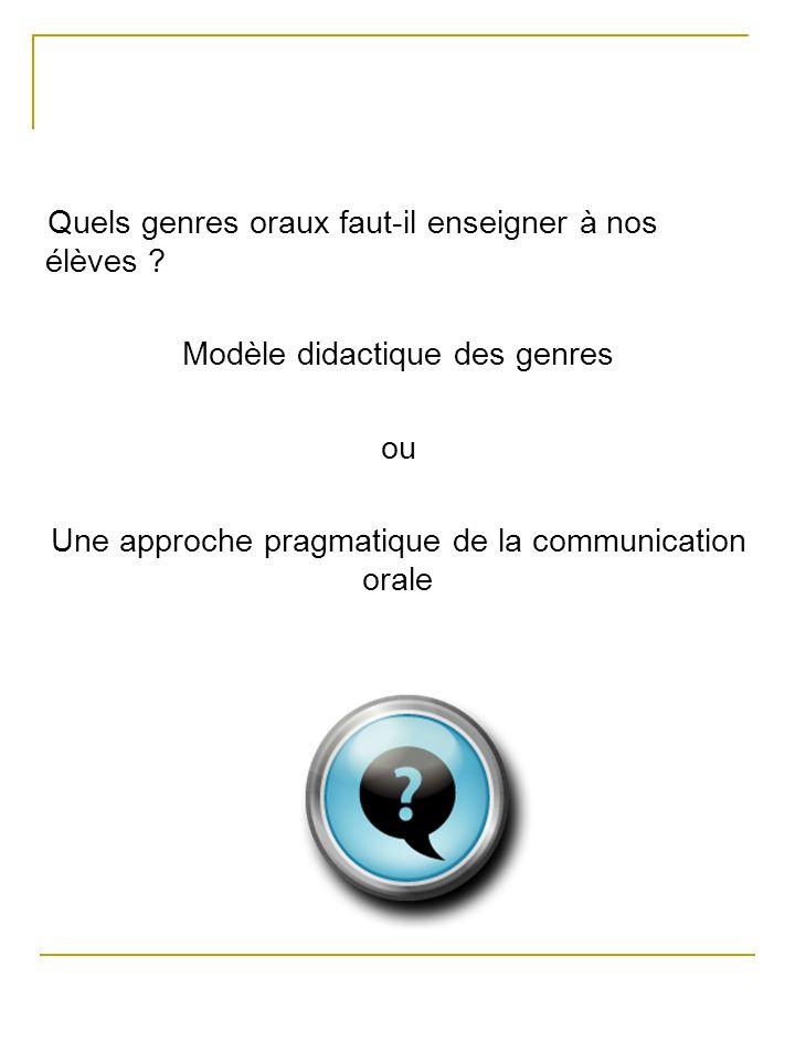 Approche pragmatique de Maurer (2001) : Oral présent dans les programmes, mais la réalité est autre chose.