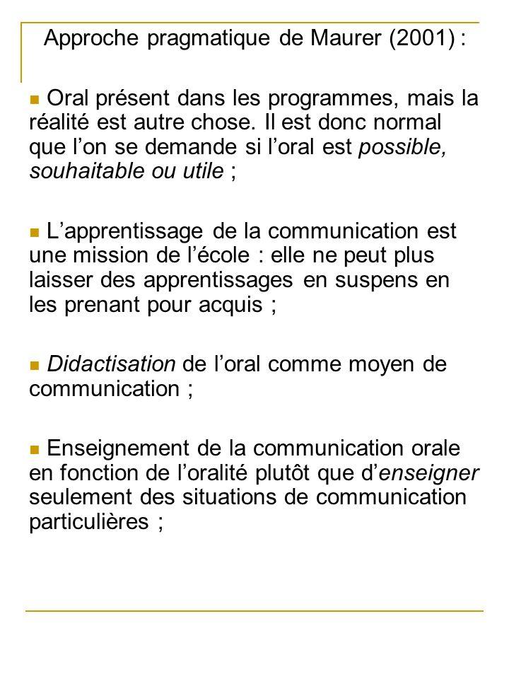 Approche pragmatique de Maurer (2001) : Oral présent dans les programmes, mais la réalité est autre chose. Il est donc normal que lon se demande si lo
