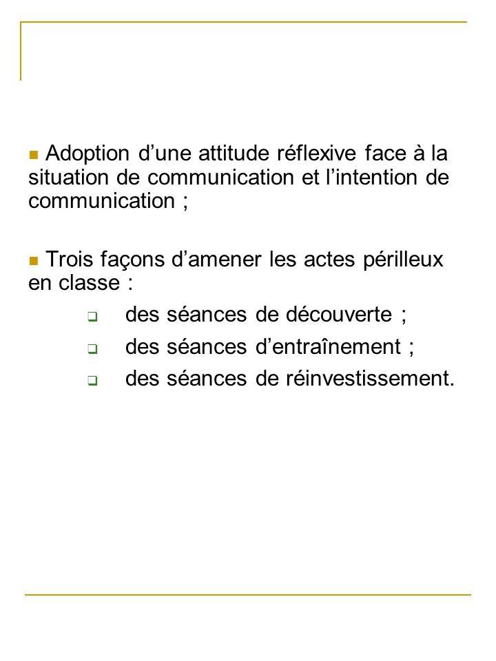 Adoption dune attitude réflexive face à la situation de communication et lintention de communication ; Trois façons damener les actes périlleux en cla