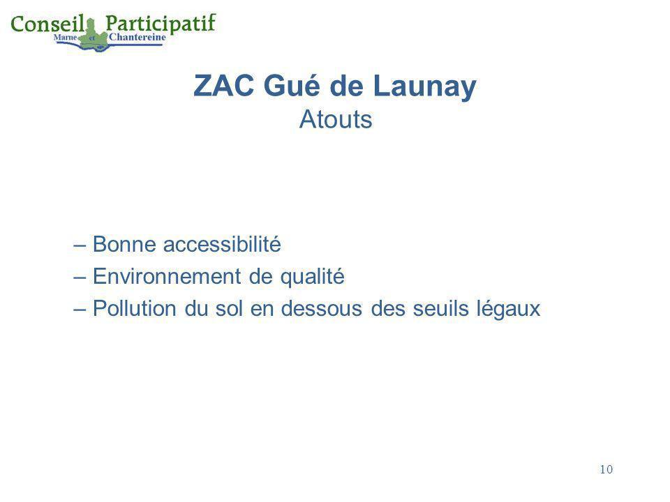 10 ZAC Gué de Launay Atouts – Bonne accessibilité – Environnement de qualité – Pollution du sol en dessous des seuils légaux