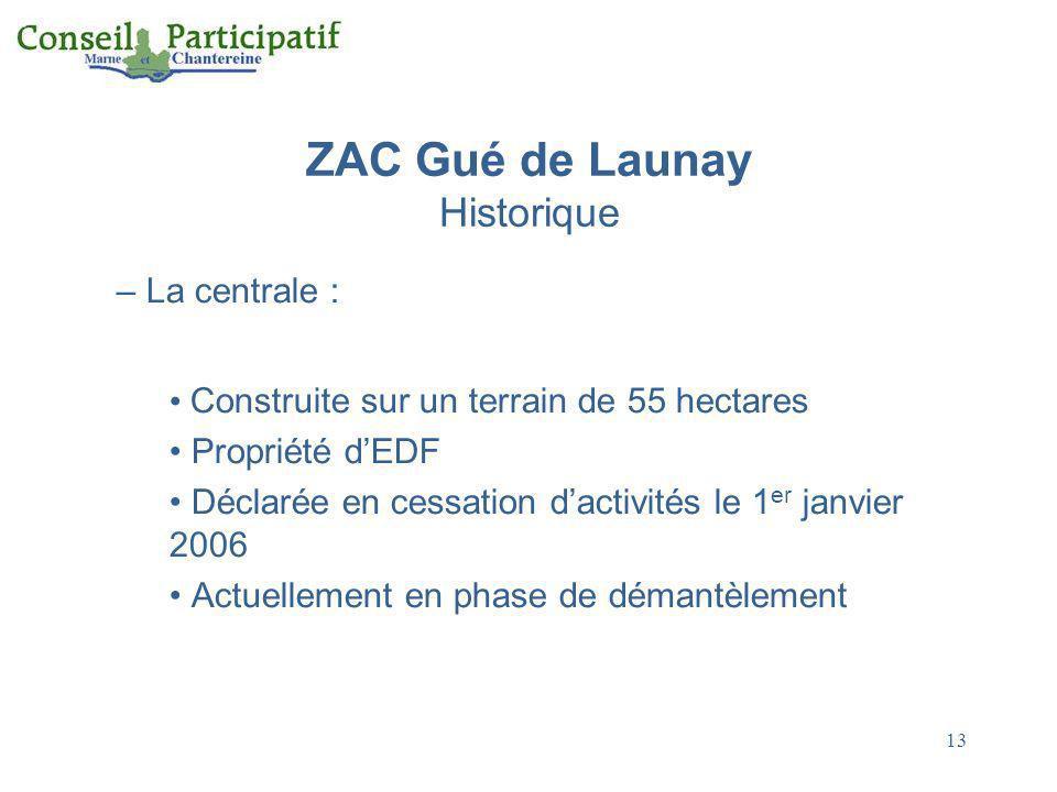 13 ZAC Gué de Launay Historique – La centrale : Construite sur un terrain de 55 hectares Propriété dEDF Déclarée en cessation dactivités le 1 er janvi