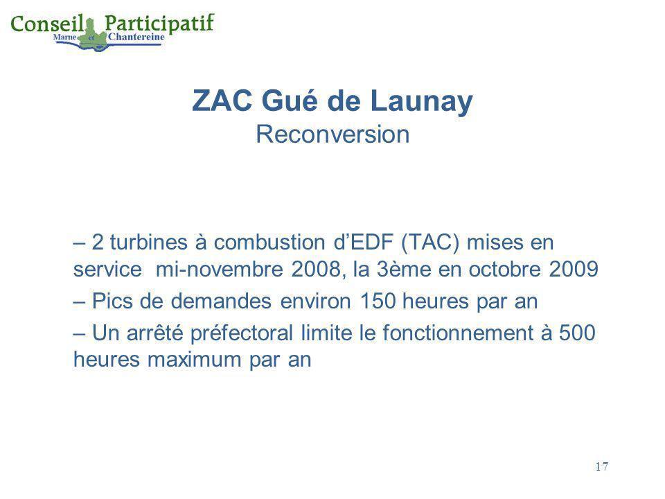 17 ZAC Gué de Launay Reconversion – 2 turbines à combustion dEDF (TAC) mises en service mi-novembre 2008, la 3ème en octobre 2009 – Pics de demandes e