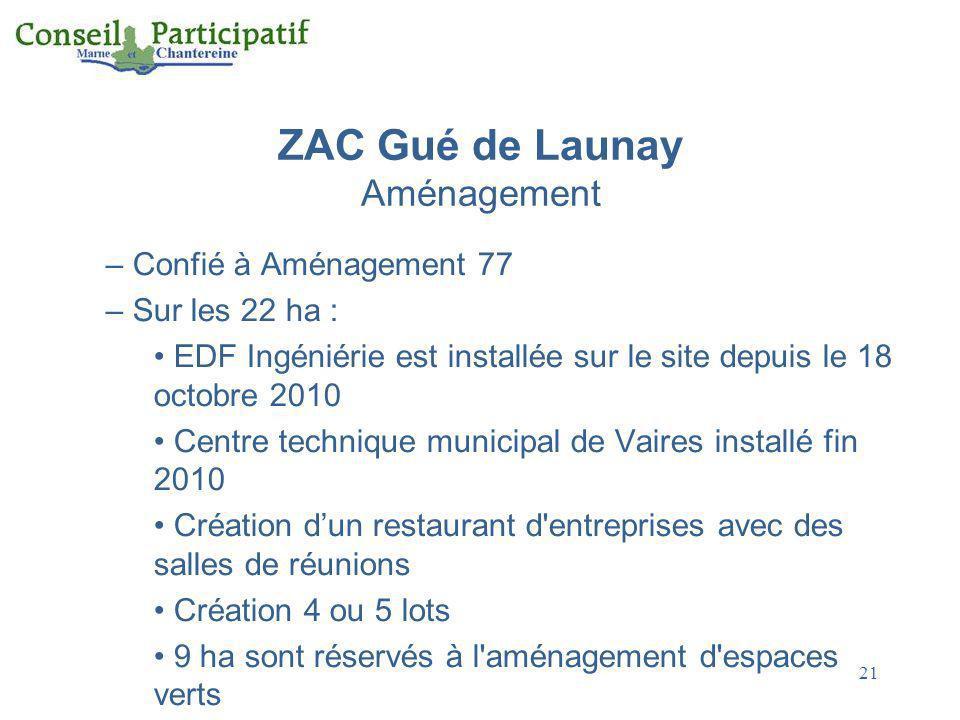 21 ZAC Gué de Launay Aménagement – Confié à Aménagement 77 – Sur les 22 ha : EDF Ingéniérie est installée sur le site depuis le 18 octobre 2010 Centre