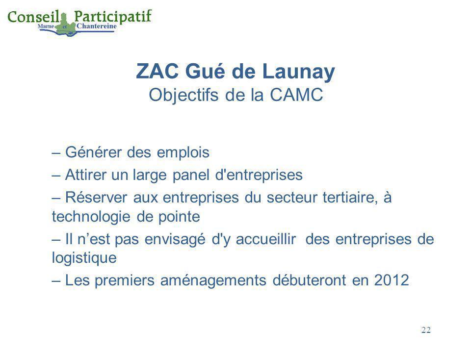 22 ZAC Gué de Launay Objectifs de la CAMC – Générer des emplois – Attirer un large panel d'entreprises – Réserver aux entreprises du secteur tertiaire