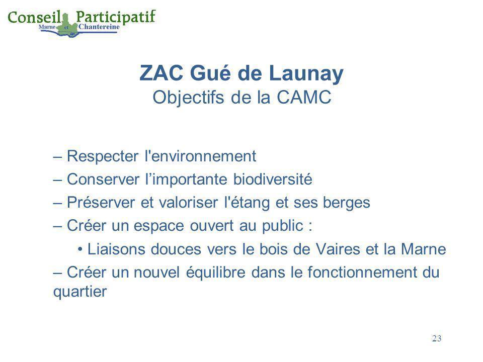 23 ZAC Gué de Launay Objectifs de la CAMC – Respecter l'environnement – Conserver limportante biodiversité – Préserver et valoriser l'étang et ses ber