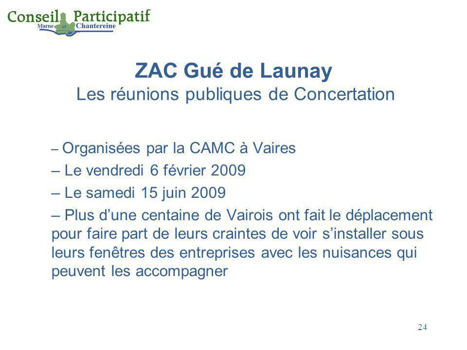 24 ZAC Gué de Launay Les réunions publiques de Concertation – Organisées par la CAMC à Vaires – Le vendredi 6 février 2009 – Le samedi 15 juin 2009 –