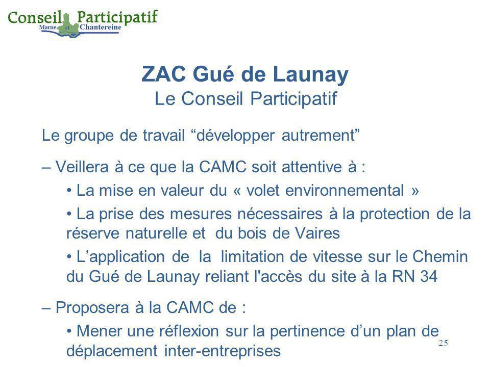 25 ZAC Gué de Launay Le Conseil Participatif Le groupe de travail développer autrement – Veillera à ce que la CAMC soit attentive à : La mise en valeu