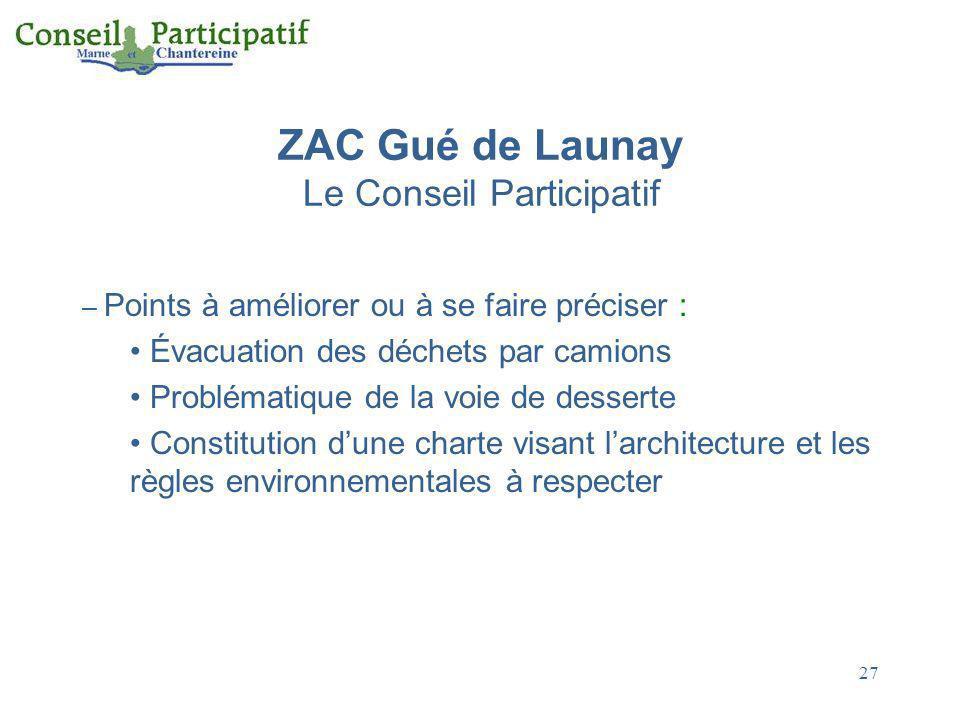27 ZAC Gué de Launay Le Conseil Participatif – Points à améliorer ou à se faire préciser : Évacuation des déchets par camions Problématique de la voie
