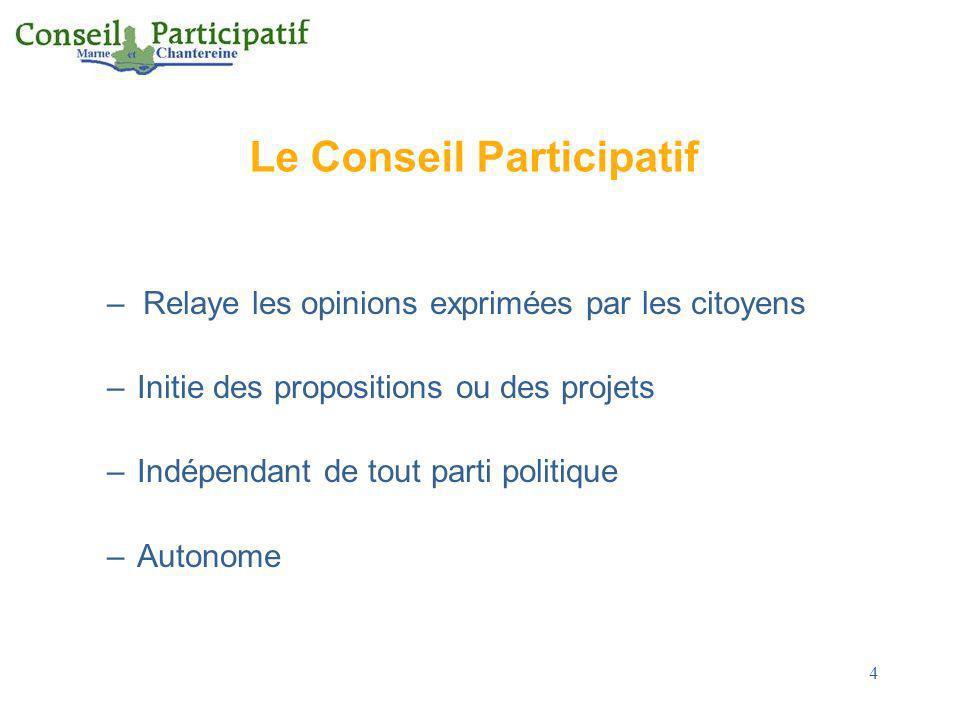 4 Le Conseil Participatif –Relaye les opinions exprimées par les citoyens –Initie des propositions ou des projets –Indépendant de tout parti politique