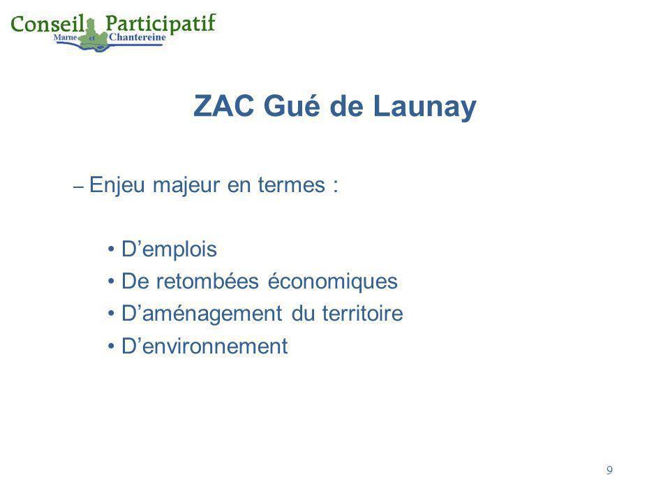 9 ZAC Gué de Launay – Enjeu majeur en termes : Demplois De retombées économiques Daménagement du territoire Denvironnement