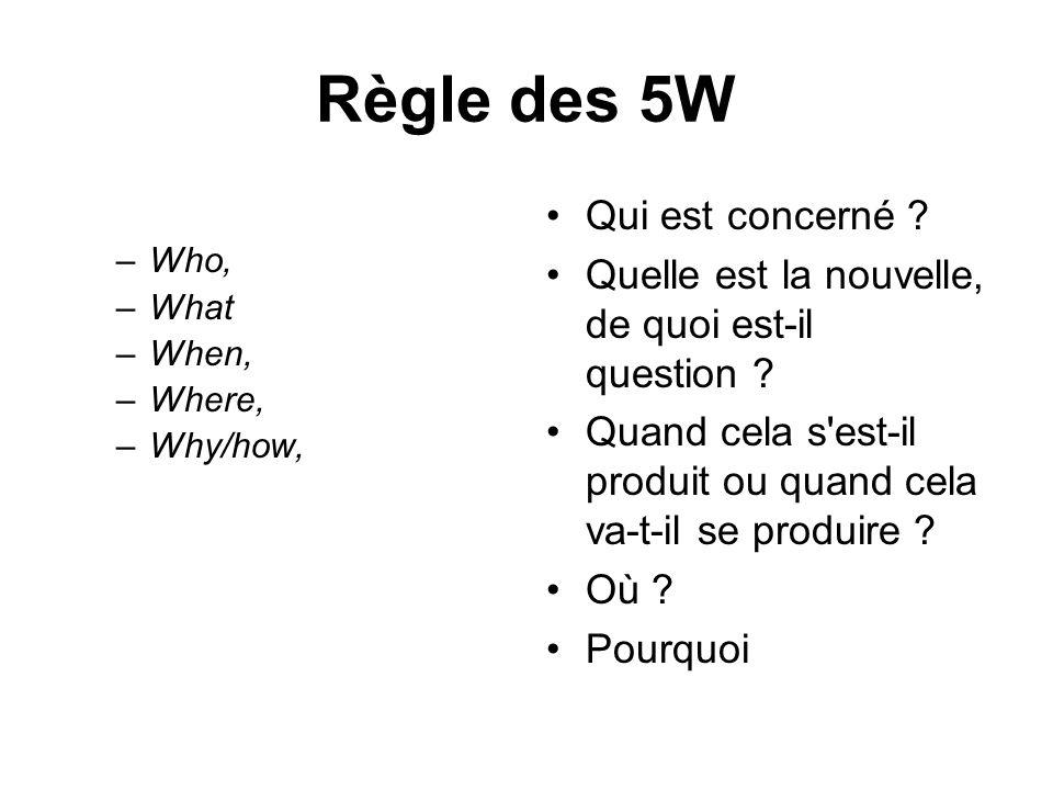 Règle des 5W –Who, –What –When, –Where, –Why/how, Qui est concerné ? Quelle est la nouvelle, de quoi est-il question ? Quand cela s'est-il produit ou